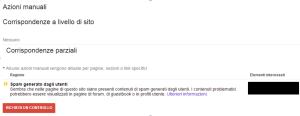 Azione Manuale Google Spam