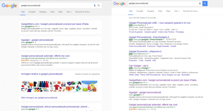 Confronto Google Serp Layout