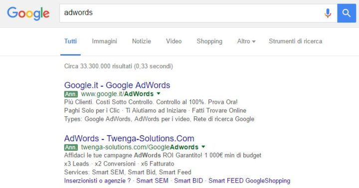 Google Serp con Label Adwords Verdi